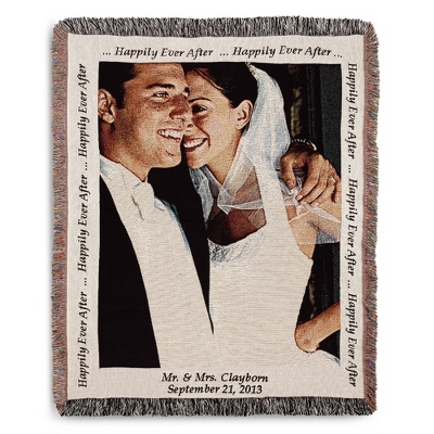 Portrait Wedding Photo Throw with Natural Border - $89.99