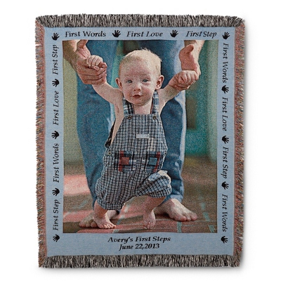 Portrait Baby Photo Throw with Blue Border