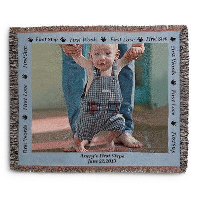 Landscape Baby Photo Throw with Blue Border - Woven Photo Throws