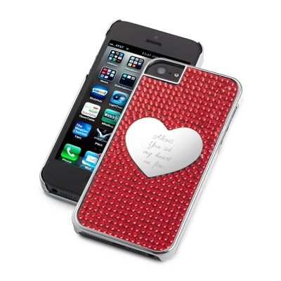 Red Bling Heart iPhone 4 Case