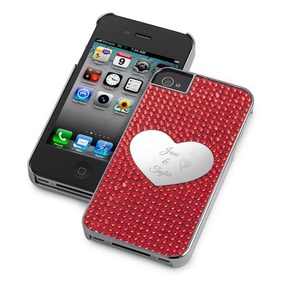Red Bling Heart iPhone 5 Case - UPC 825008333246