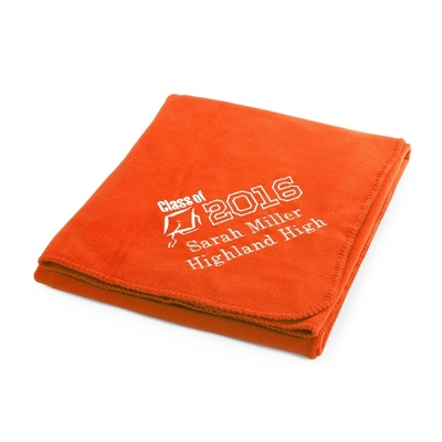 2013 Graduation Bright Orange Fleece Throw - $25.99