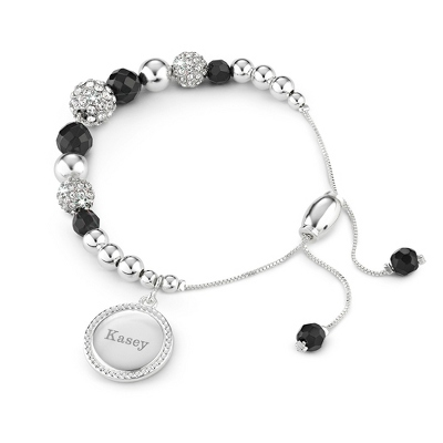 Black Agate Pave Lariat Bracelet with complimentary Filigree Keepsake Box - Fashion Bracelets & Bangles
