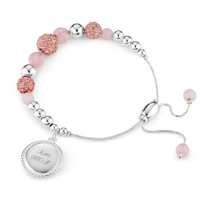 Rose Quartz Pave Lariat Bracelet with complimentary Filigree Keepsake Box - Fashion Bracelets & Bangles