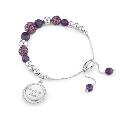 Amethyst Pave Lariat Bracelet with complimentary Filigree Keepsake Box - Fashion Bracelets & Bangles