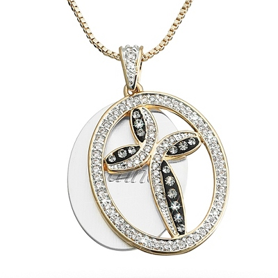 Crystal Cross Necklace with complimentary Filigree Keepsake Box - UPC 825008334052