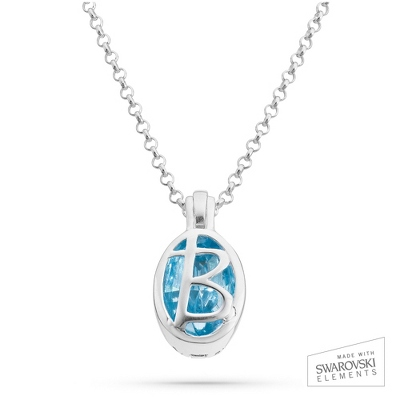 "Sterling Silver Birthstone ""B"" Initial Pendant with complimentary Filigree Keepsake Box"