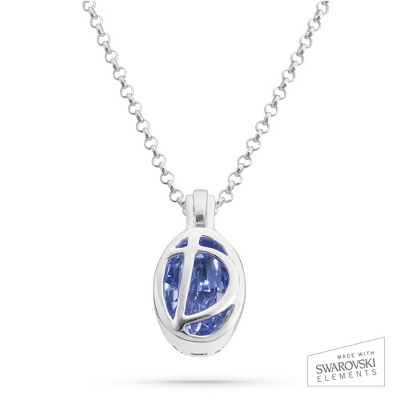 "Sterling Silver Birthstone ""D"" Initial Pendant with complimentary Filigree Keepsake Box"