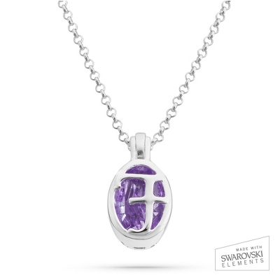 "Sterling Silver Birthstone ""F"" Initial Pendant with complimentary Filigree Keepsake Box"