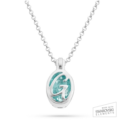 "Sterling Silver Birthstone ""G"" Initial Pendant with complimentary Filigree Keepsake Box"