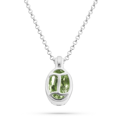 "Sterling Silver Birthstone ""I"" Initial Pendant with complimentary Filigree Keepsake Box"