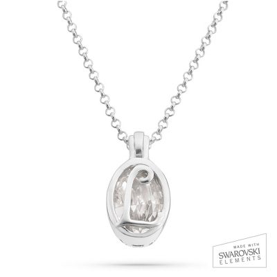 "Sterling Silver Birthstone ""L"" Initial Pendant with complimentary Filigree Keepsake Box"