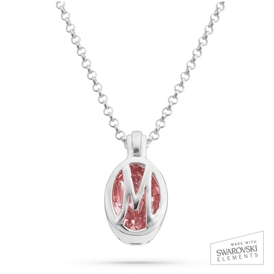 "Sterling Silver Birthstone ""M"" Initial Pendant with complimentary Filigree Keepsake Box"