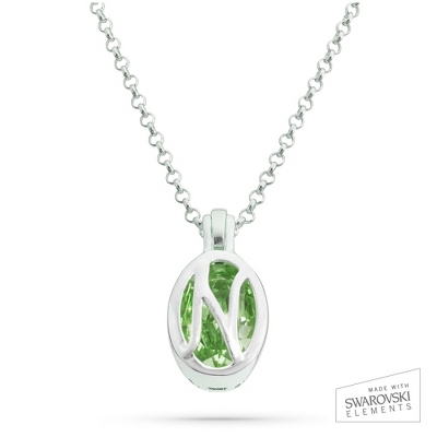 "Sterling Silver Birthstone ""N"" Initial Pendant with complimentary Filigree Keepsake Box"