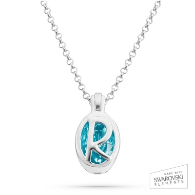 "Sterling Silver Birthstone ""R"" Initial Pendant with complimentary Filigree Keepsake Box"