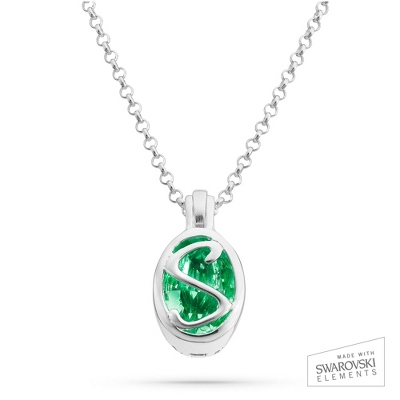 "Sterling Silver Birthstone ""S"" Initial Pendant with complimentary Filigree Keepsake Box"