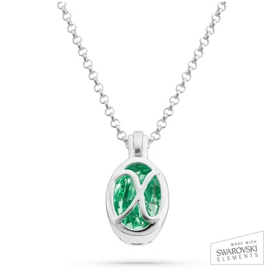"Sterling Silver Birthstone ""X"" Initial Pendant with complimentary Filigree Keepsake Box"