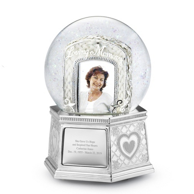 Loving Memory Photo Musical Snow Globe