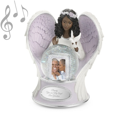 Lilac Guardian Angel Musical Snow Globe