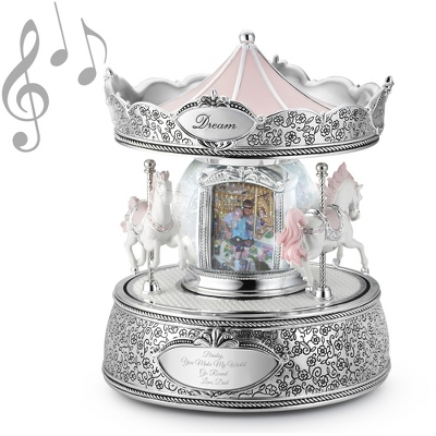 Merry-Go-Round Photo Musical Snow Globe