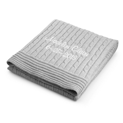 Grey Knit Blanket - UPC 825008338913