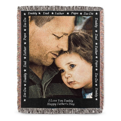 Portrait Dad Photo Throw with Black Border - Family & Friends Throws