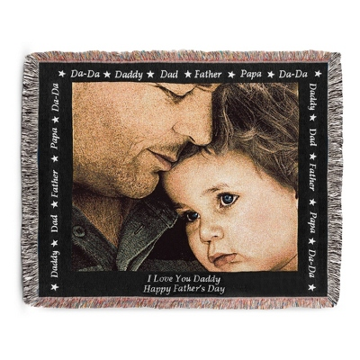 Landscape Dad Photo Throw with Black Border - Woven Photo Throws