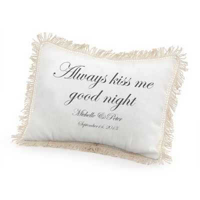 Always Kiss Me Goodnight Pillow with Black Print