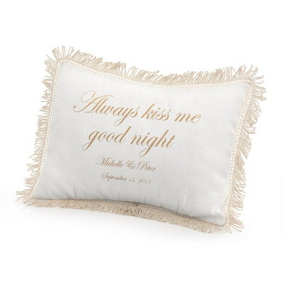Always Kiss Me Goodnight Pillow with Gold Print - $50.00