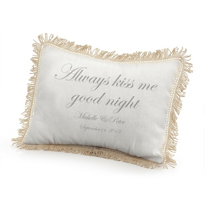 Always Kiss Me Goodnight Pillow with Silver Print - $50.00