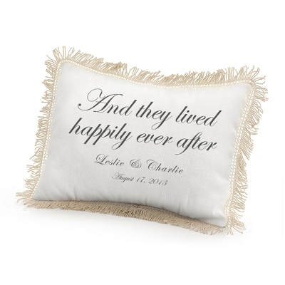They Lived Happily Ever After Pillow with Black Print - Wedding Throws