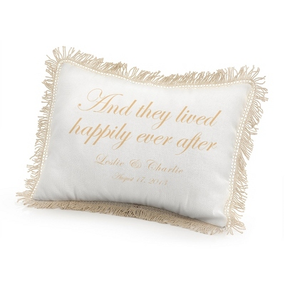 They Lived Happily Ever After Pillow with Gold Print - UPC 825008339385