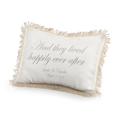They Lived Happily Ever After Pillow with Silver Print - Wedding Throws