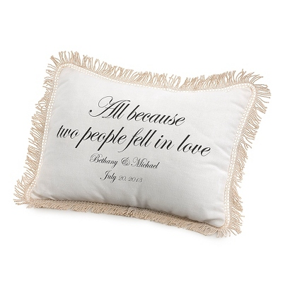 All Because Two People Fell in Love Pillow with Black Print