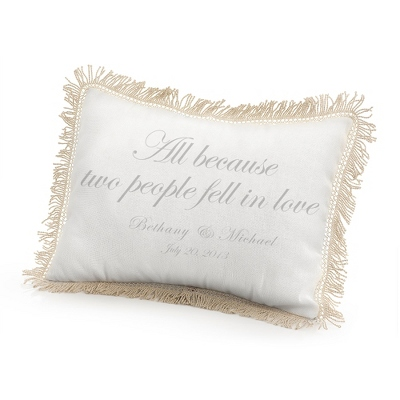 All Because Two People Fell in Love Pillow with Silver Print - $50.00