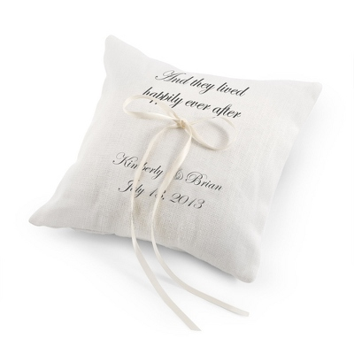 They Lived Happily Ever After Ring Pillow with Black Print