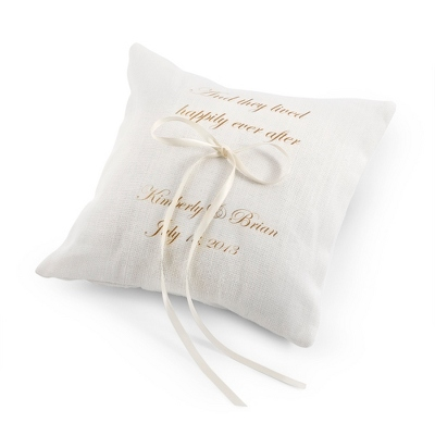 They Lived Happily Ever After Ring Pillow with Gold Print - Wedding Throws