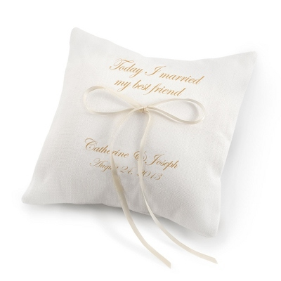 Today I Married My Best Friend Ring Pillow with Gold Print - Wedding Throws