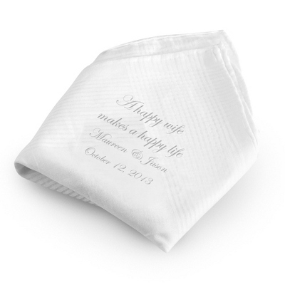 Happy Wife Happy Life Handkerchief with Silver Print