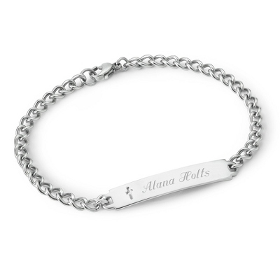 Girl's Stainless Cross ID Bracelet with complimentary Filigree Heart Box