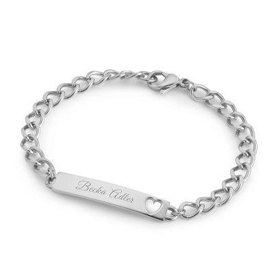 Girl's Stainless Heart ID Bracelet with complimentary Filigree Heart Box
