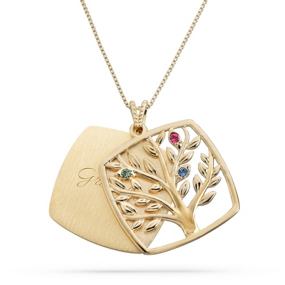 Gold Over Sterling 3 Birthstone Square Tree Necklace with complimentary Filigree Keepsake Box
