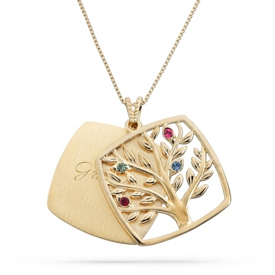 Gold Over Sterling 4 Birthstone Square Tree Necklace with complimentary Filigree Keepsake Box