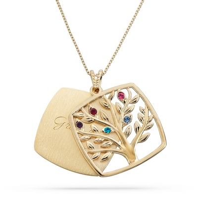 Gold Over Sterling 5 Birthstone Square Tree Necklace with complimentary Filigree Keepsake Box