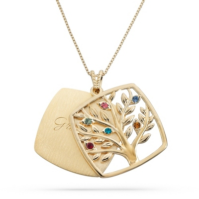 Gold Over Sterling 6 Birthstone Square Tree Necklace with complimentary Filigree Keepsake Box
