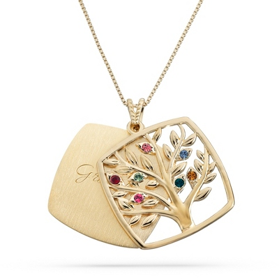 Gold Over Sterling 7 Birthstone Square Tree Necklace with complimentary Filigree Keepsake Box