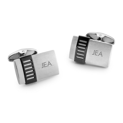 Dolan Bullock Stainless Cuff Links with Black IP Bar with complimentary Tri Tone Valet Box