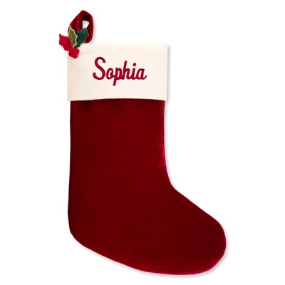 "21"" Red Velvet Stocking with Holly - $19.99"