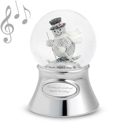 Skiing Holiday Snowman Water Globe