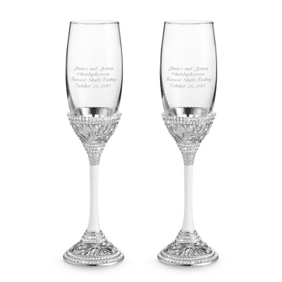 Personalized Crystal Wedding Toasting Flutes